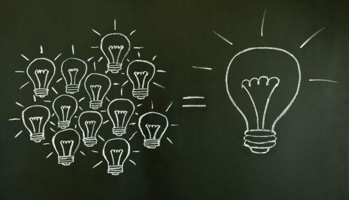 Light bulbs teamwork concept